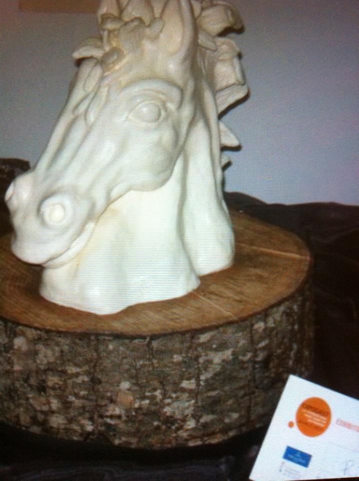 Testa di cavallo realizzata interamente in margarina dallo chef italiano Carlo Caciottolo, medaglia di bronzo ai mondiali Culinary World Cup Luxemburg 2010