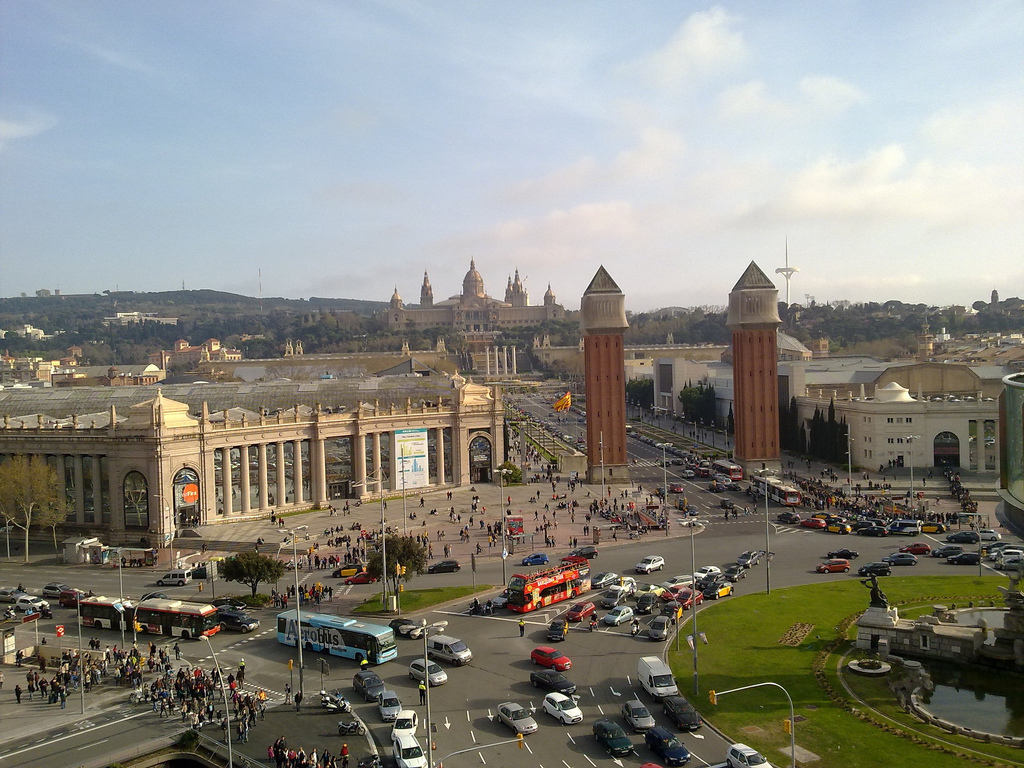 Plaza de España, tra le principali e trafficate piazze di Barcellona